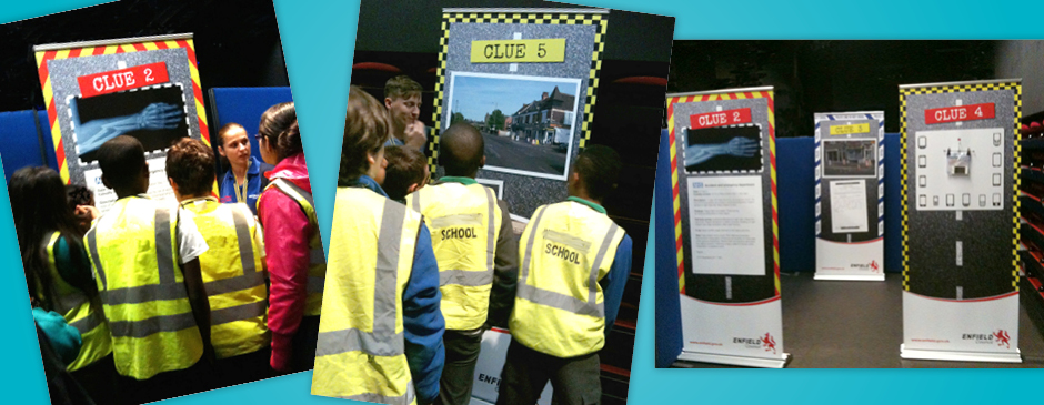Pupils enjoying a Junior Citizen workshop in Enfield, suing B3 Creative's banners
