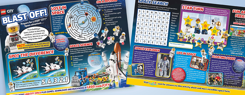 Tim Peake LEGO CITY Space special activity sheet